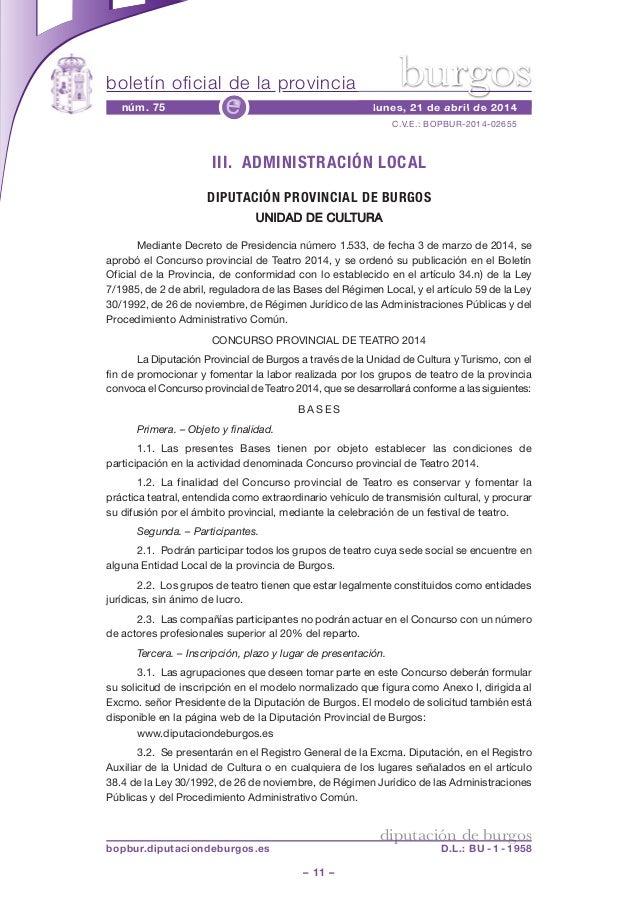 boletín oficial de la provincia – 11 – C.V.E.: BOPBUR-2014-02655 núm. 75 lunes, 21 de abril de 2014e diputación de burgos ...