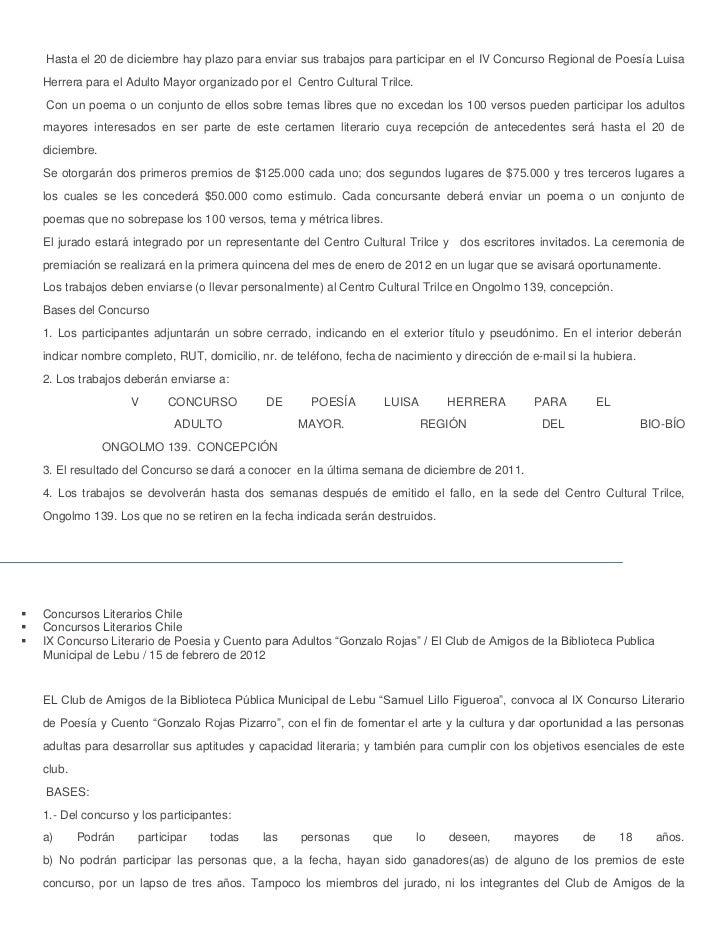 Hasta el 20 de diciembre hay plazo para enviar sus trabajos para participar en el IV Concurso Regional de Poesía Luisa    ...