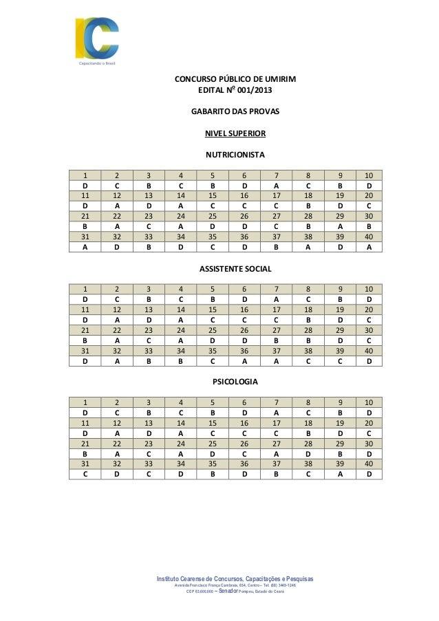 Instituto Cearense de Concursos, Capacitações e Pesquisas Avenida Francisco França Cambraia, 654, Centro – Tel: (88) 3449-...
