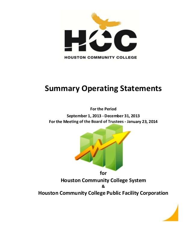 SummaryOperatingStatements ForthePeriod September1,2013‐December31,2013 FortheMeetingoftheBoardofTrustees...