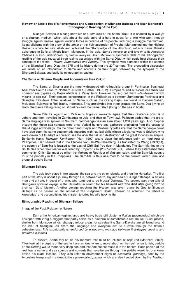 Ethnographic Review on Sama Dilaut's Epic Silungan Baltapa