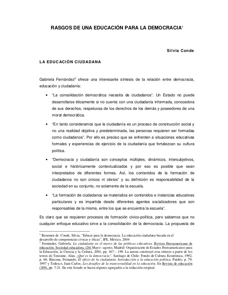 RASGOS DE UNA EDUCACIÓN PARA LA DEMOCRACIA1                                                                               ...