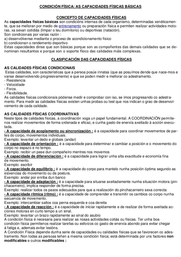 CONDICIÓN FÍSICA: AS CAPACIDADES FÍSICAS BÁSICAS                                  CONCEPTO DE CAPACIDADES FÍSICASAs capaci...