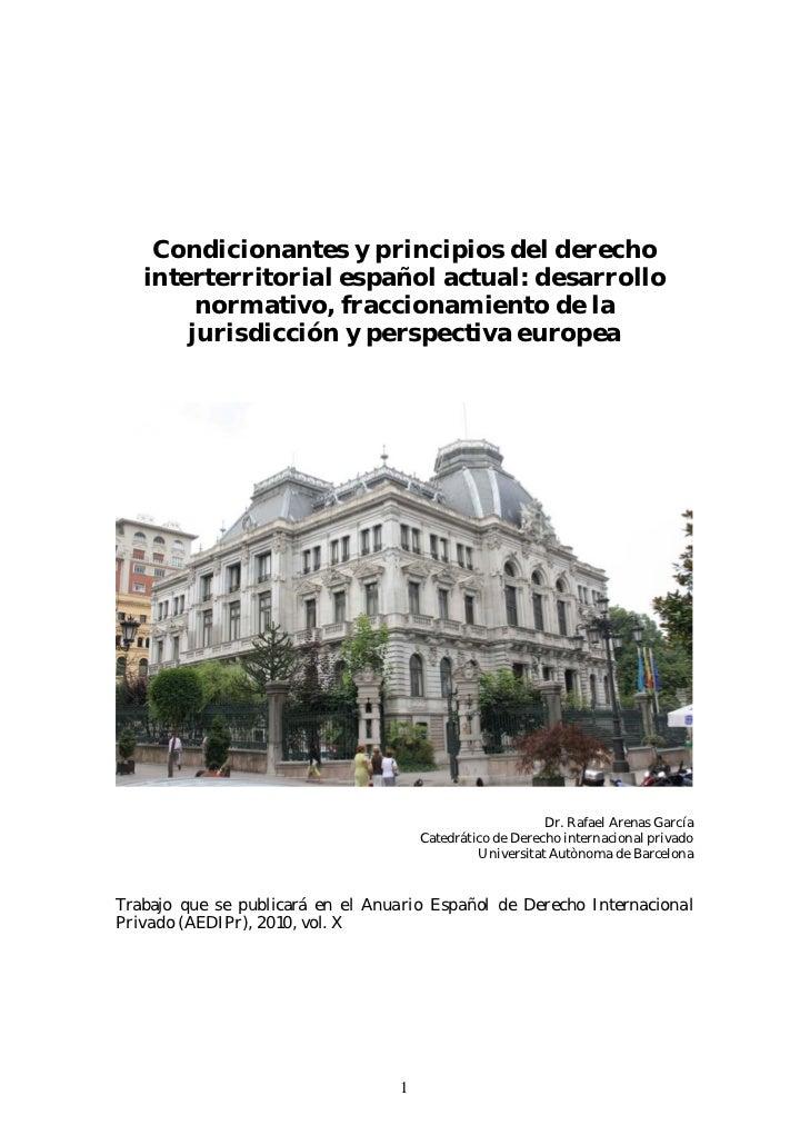 Condicionantes y principios en el derecho interterritorial