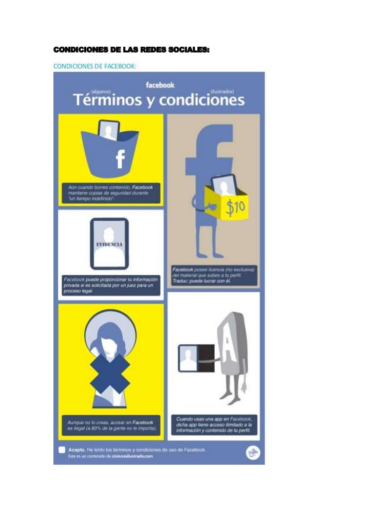 CONDICIONES DE LAS REDES SOCIALES:CONDICIONES DE FACEBOOK: