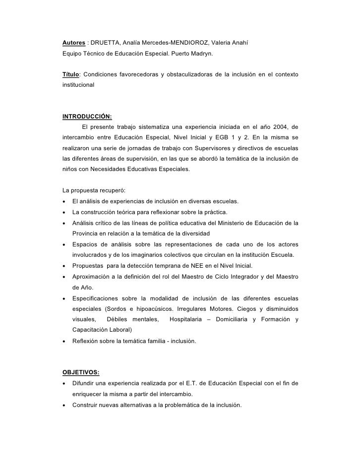 Autores : DRUETTA, Analía Mercedes-MENDIOROZ, Valeria Anahí Equipo Técnico de Educación Especial. Puerto Madryn.   Título:...
