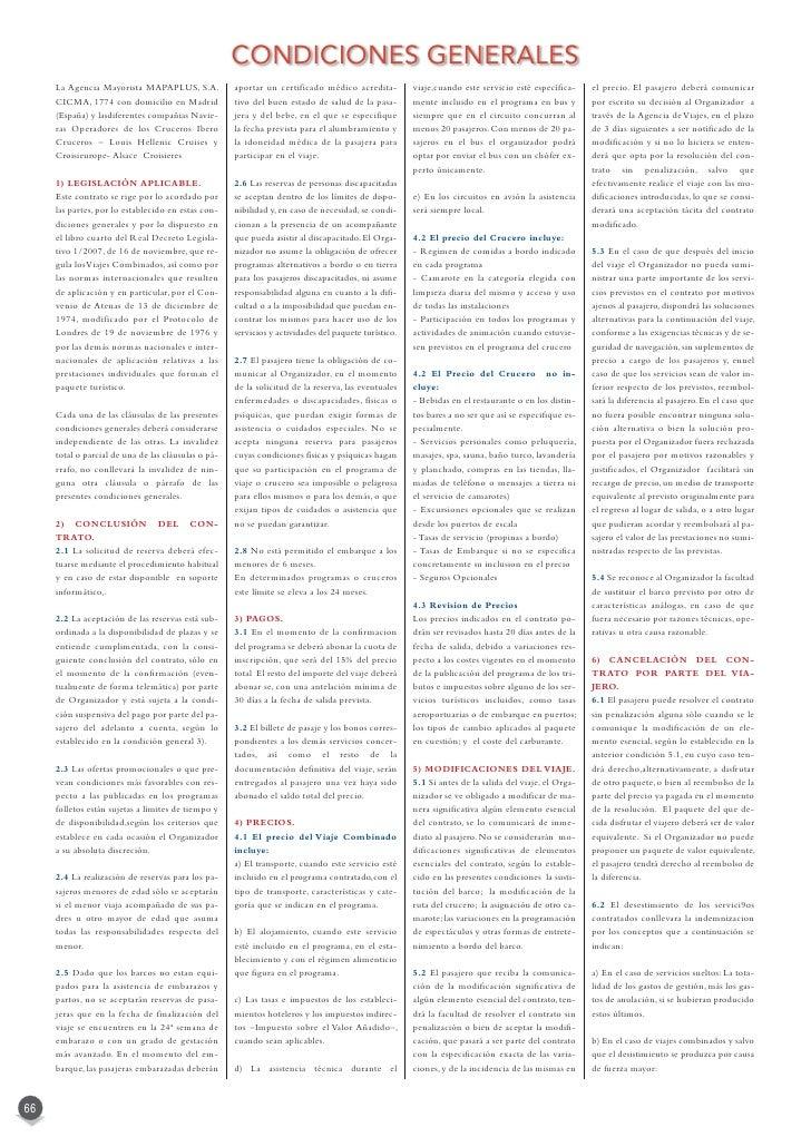 Condiciones generales de viajes Mapaplus  2012