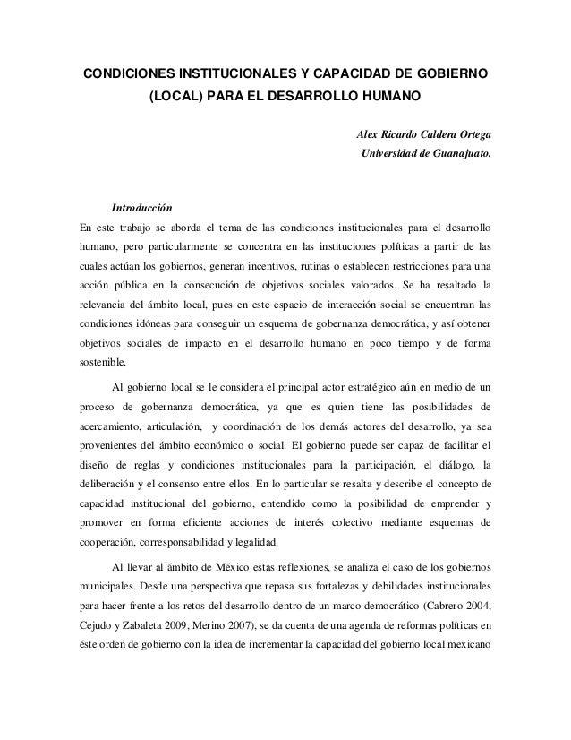 CONDICIONES INSTITUCIONALES Y CAPACIDAD DE GOBIERNO               (LOCAL) PARA EL DESARROLLO HUMANO                       ...