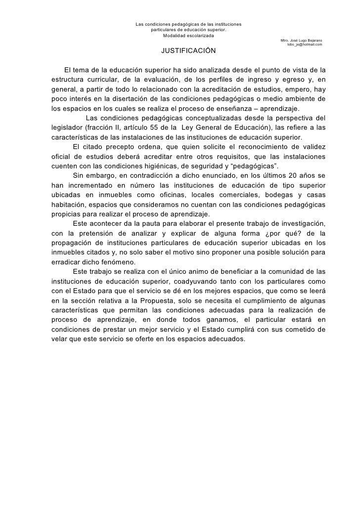 Las condiciones pedagógicas de las instituciones                                particulares de educación superior.       ...