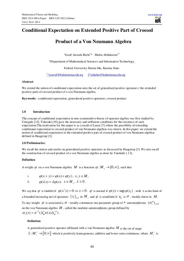 Mathematical Theory and Modeling www.iiste.org ISSN 2224-5804 (Paper) ISSN 2225-0522 (Online) Vol.4, No.8, 2014 40 Conditi...