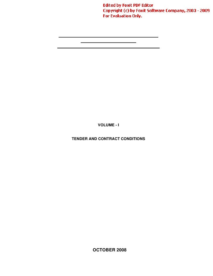 VOLUME - I   TENDER AND CONTRACT CONDITIONS             OCTOBER 2008