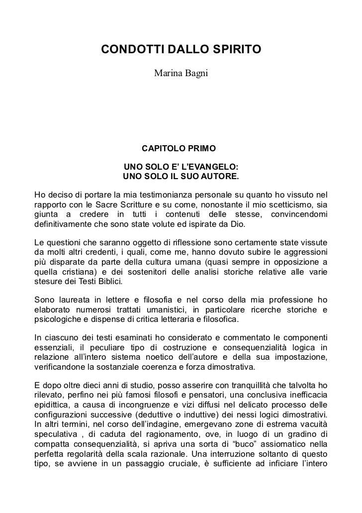 CONDOTTI DALLO SPIRITO                                 Marina Bagni                             CAPITOLO PRIMO            ...