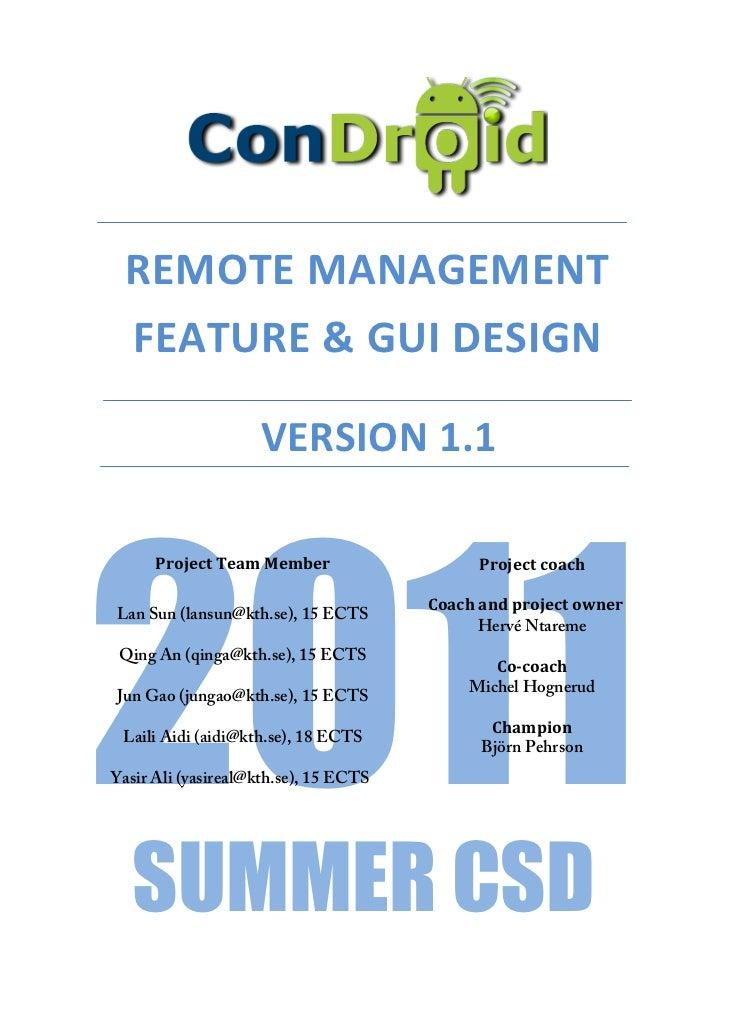 Condroid Remote Management - Feature & GUI Design