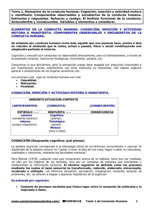 www.oposicionesayudantes.com/ 659559318 Tema 1 de Conducta Humana 1 Tema 1. Elementos de la conducta humana: Cognición, e...