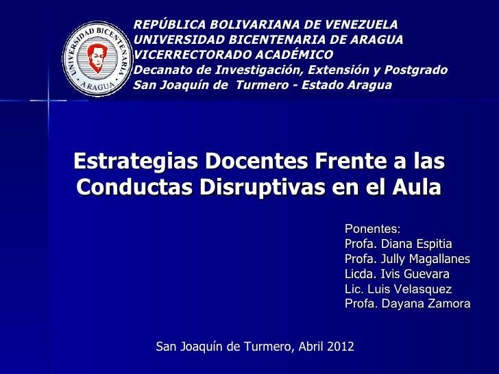REPÚBLICA BOLIVARIANA DE VENEZUELA     UNIVERSIDAD BICENTENARIA DE ARAGUA     VICERRECTORADO ACADÉMICO     Decanato de Inv...