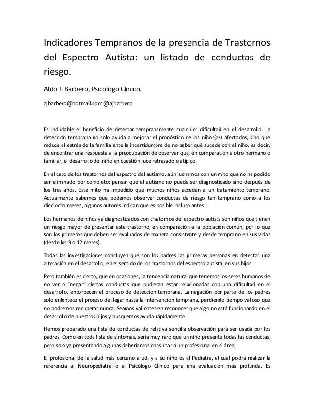 Indicadores Tempranos de la presencia de Trastornos del Espectro Autista: un listado de conductas de riesgo. Aldo J. Barbe...