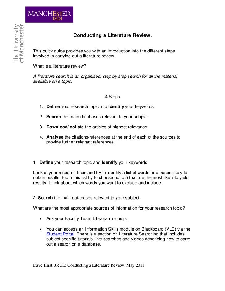 Conducting a Literature Review.This quick guide provides you with an introduction into the different stepsinvolved in carr...