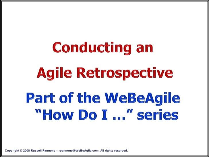 Conducting An Agile Retrospective