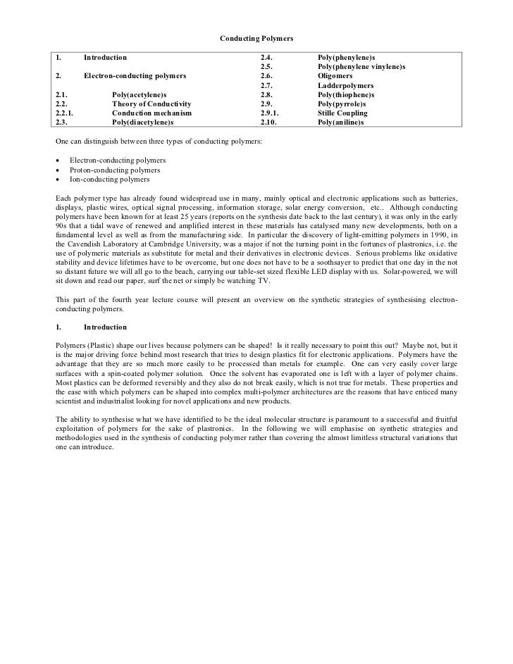 Conducting Polymers1.       Introduction                                            2.4.               Poly(phenylene)s   ...