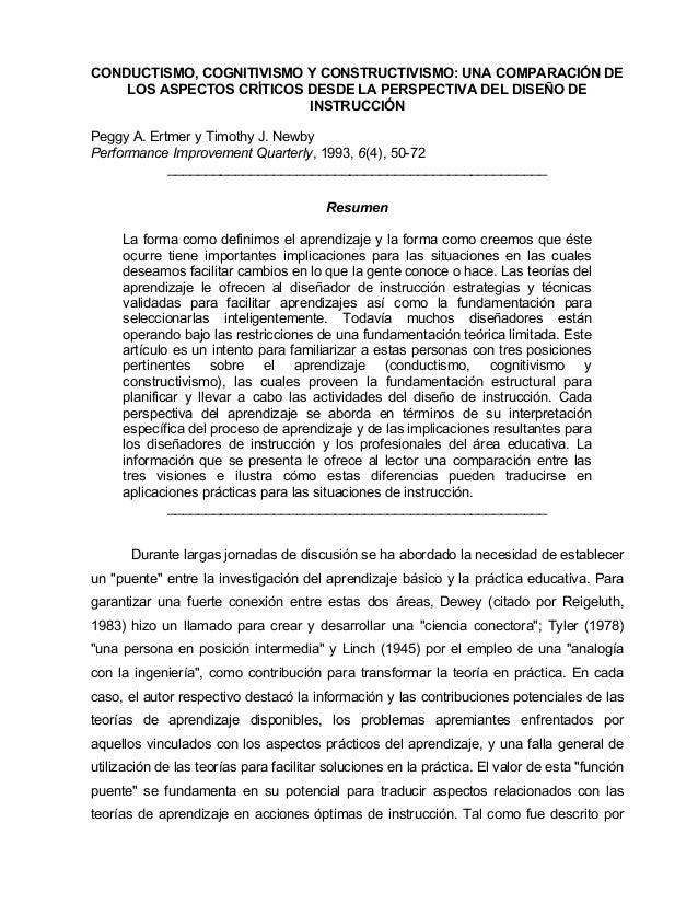 CONDUCTISMO, COGNITIVISMO Y CONSTRUCTIVISMO: UNA COMPARACIÓN DE LOS ASPECTOS CRÍTICOS DESDE LA PERSPECTIVA DEL DISEÑO DE I...