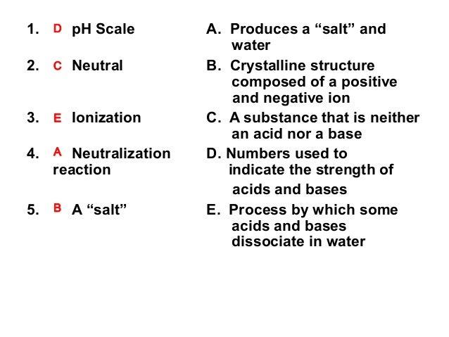 "1.  D  pH Scale  2.  C  Neutral  3.  E  Ionization  4.  A  Neutralization reaction  5.  B  A ""salt""  A. Produces a ""salt"" ..."