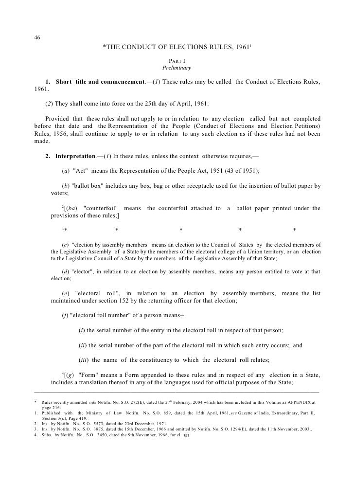 Conduct of election rules 1961