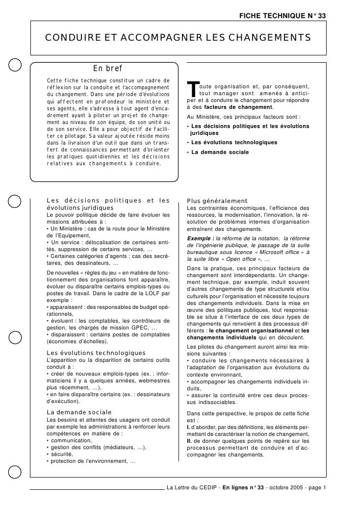 FICHE TECHNIQUE N° 33   CONDUIRE ET ACCOMPAGNER LES CHANGEMENTS                      En bref Cette fiche technique constit...