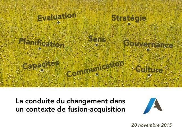 La conduite du changement dans un contexte de fusion-acquisition 20 novembre 2015 Evaluation Sens Stratégie CultureCapacit...