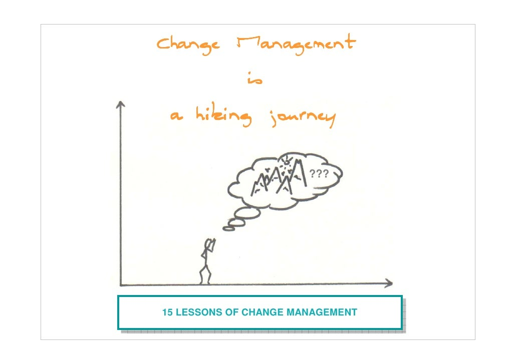 Change Management         is  a hiking journey                        ???     15 LESSONS OF CHANGE MANAGEMENT  15 LESSONS ...