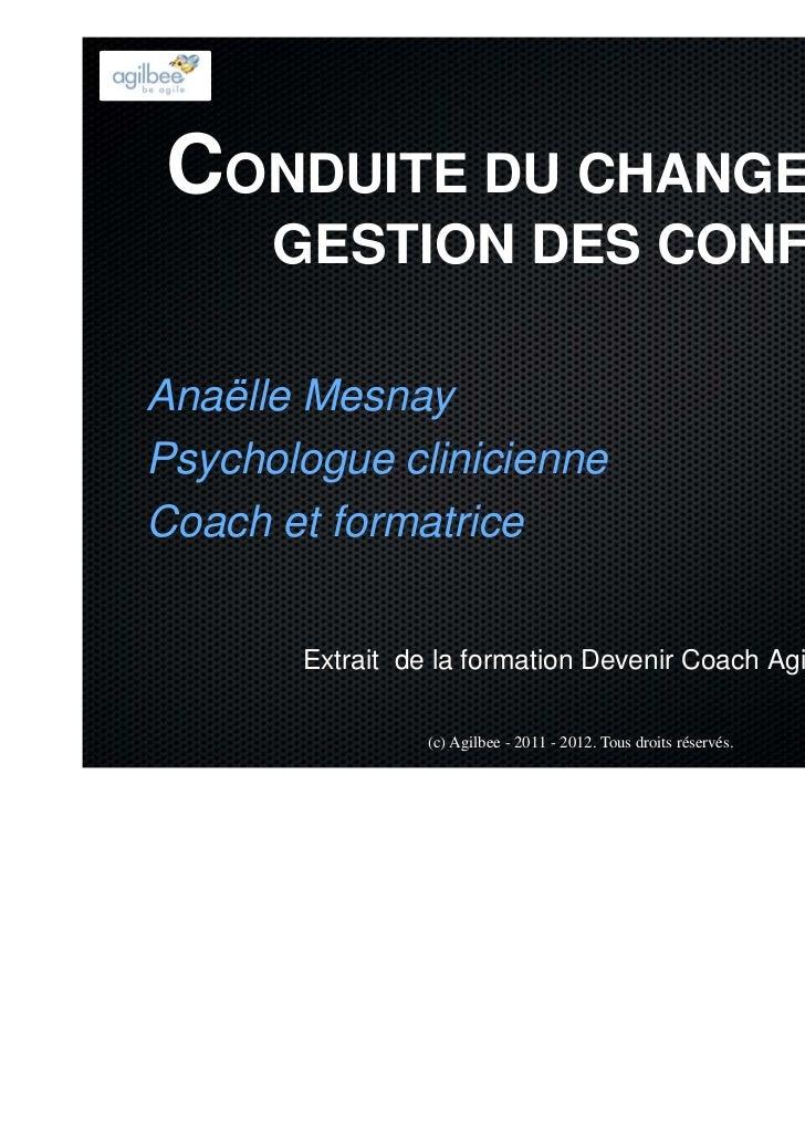 CONDUITE DU CHANGEMENT      GESTION DES CONFLITSAnaëlle MesnayPsychologue clinicienneCoach et formatrice       Extrait de ...
