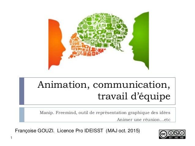 Animation, communication, travail d'équipe Manip. Freemind, outil de représentation graphique des idées Animer une réunion...