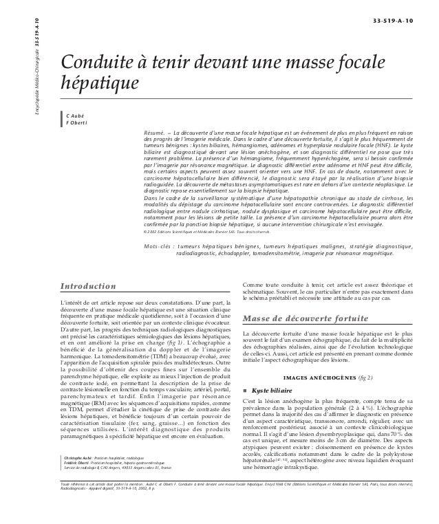 Conduite à tenir devant une masse focale  hépatique  C Aubé  F Oberti  Résumé. – La découverte d'une masse focale hépatiqu...