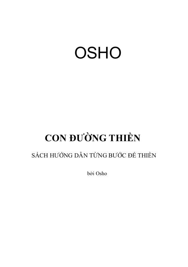 OSHO  CON ĐƯỜNG THIỀN SÁCH HƯỚNG DẪN TỪNG BƯỚC ĐỂ THIỀN bởi Osho