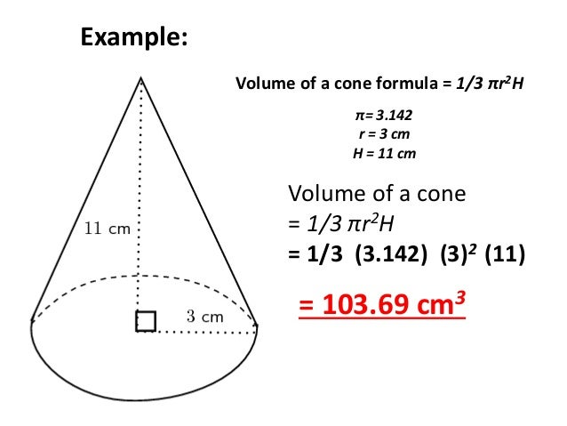 Cone Example Example Volume of a Cone