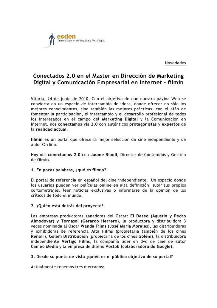 Novedades    Conectados 2.0 en el Master en Dirección de Marketing  Digital y Comunicación Empresarial en Internet – filmi...
