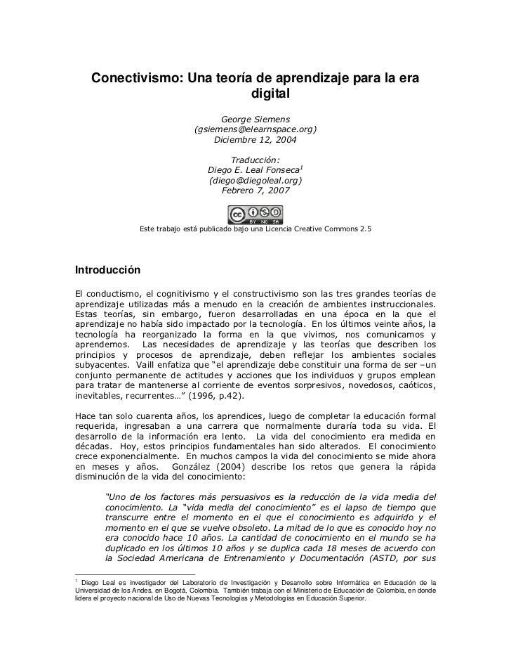 Conectivismo: Una teoría de aprendizaje para la era                             digital                                   ...
