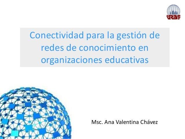 Conectividad para la gestión de  redes de conocimiento en  organizaciones educativas              Msc. Ana Valentina Chávez