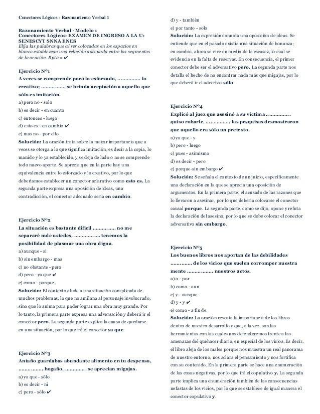 Conectores Lógicos - Razonamiento Verbal 1 Razonamiento Verbal - Modelo 1 Conectores Lógicos: EXAMEN DE INGRESO A LA U: SE...