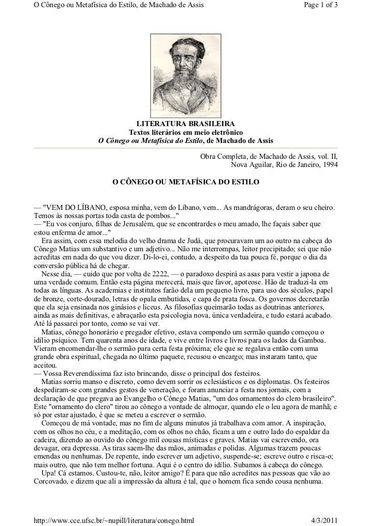 O Cônego ou Metafísica do Estilo, de Machado de Assis                                    Page 1 of 3                      ...