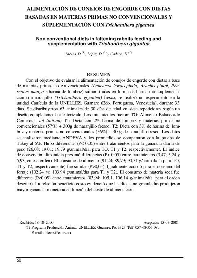 ALIMENTACIÓN DE CONEJOS DE ENGORDE CON DIETAS BASADAS EN MATERIAS PRIMAS NO CONVENCIONALES Y SÜPLEMENTACIÓN CON Tríchanthe...