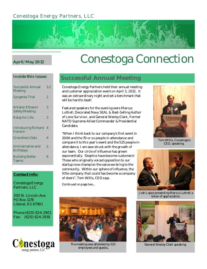 Conestoga Energy Partners, LLCApril/May 2012                          Conestoga ConnectionInside this issue:              ...