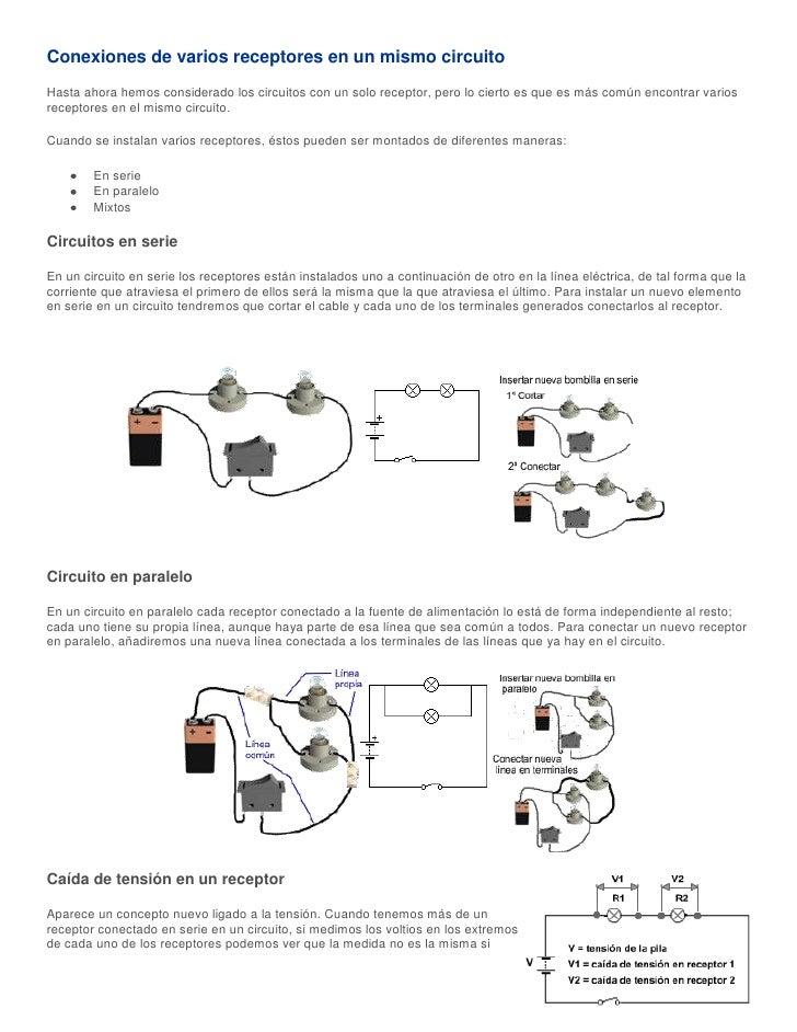 Conexiones de varios receptores en un mismo circuitoHasta ahora hemos considerado los circuitos con un solo receptor, pero...