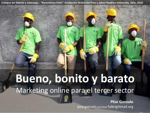 """Bueno, bonito y barato Marketing online para el tercer sector Campus de Talento y Liderazgo : """"Reconstruir Haití"""". Fundaci..."""