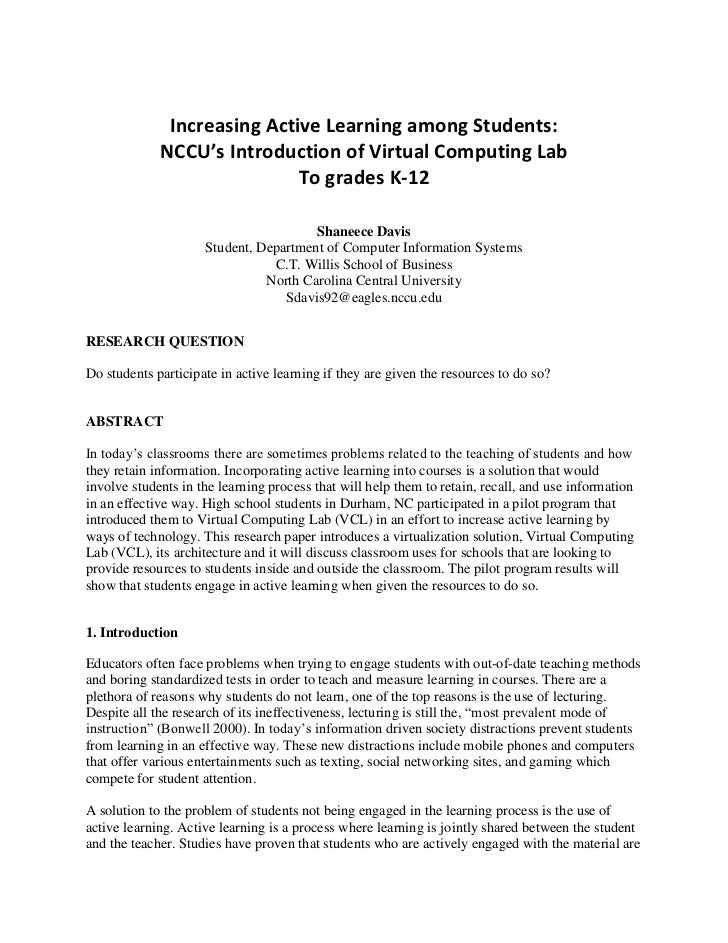 Increasing Active Learning among Students:<br />NCCU's Introduction of Virtual Computing Lab<br />To grades K-12<br /> <br...