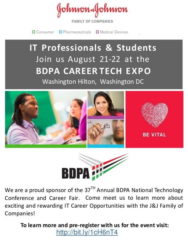 IT Professionals & Students Join us August 21-22 at the BDPA CAREER TECH EXPO Washington Hilton, Washington DC We are a pr...