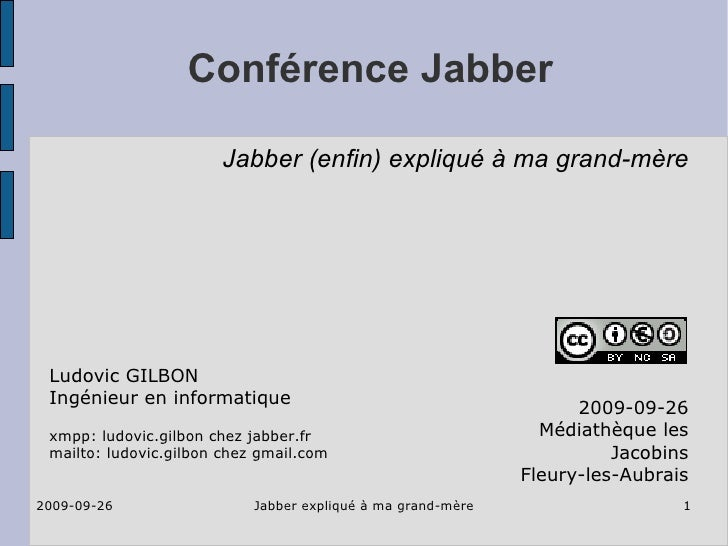 2009-09-26 xmpp jabber for beginners at mediatheque fleury