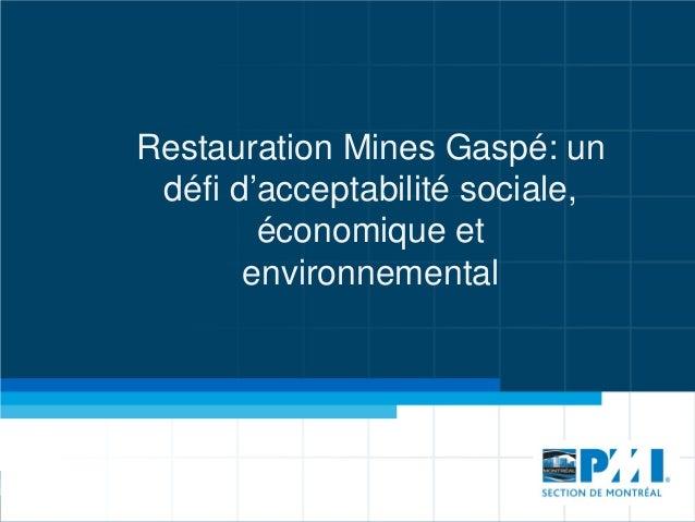 Restauration Mines Gaspé: un défi d'acceptabilité sociale, économique et environnemental