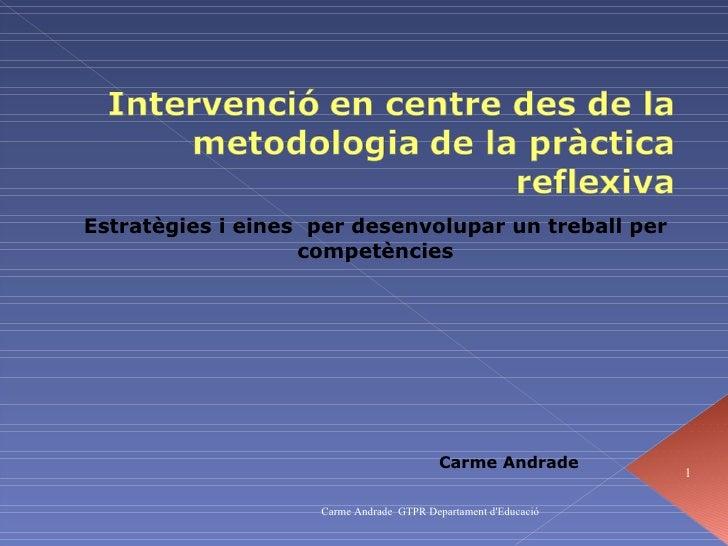 Estratègies i eines  per desenvolupar un treball per competències Carme Andrade Carme Andrade  GTPR Departament d'Educació