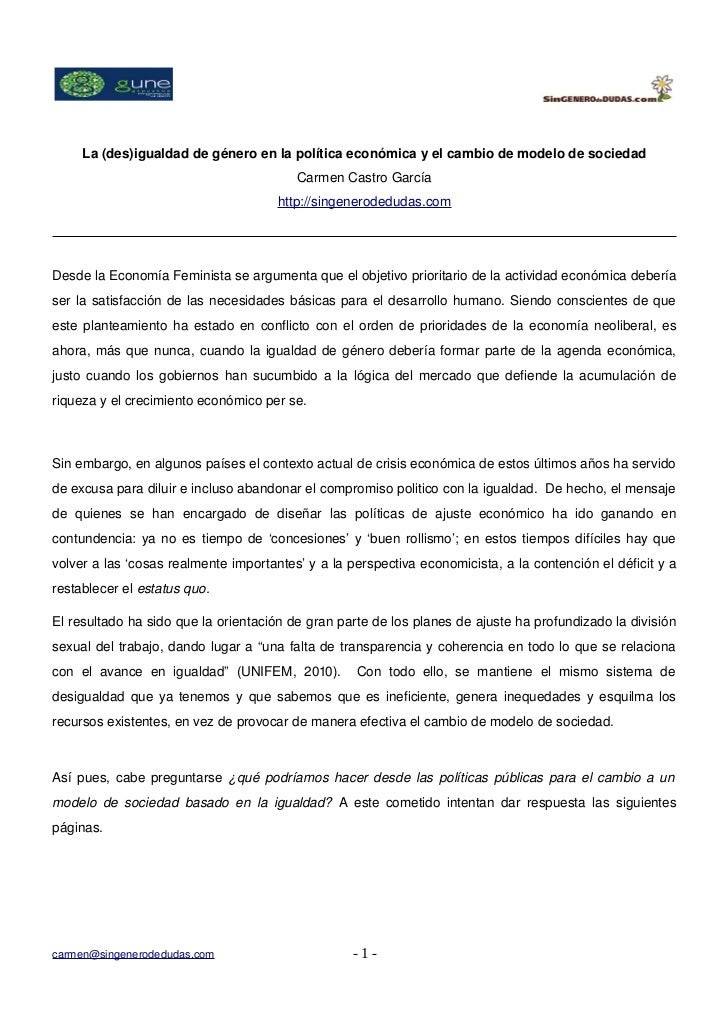 La(des)igualdaddegéneroenlapolíticaeconómicayelcambiodemodelodesociedad                                     ...