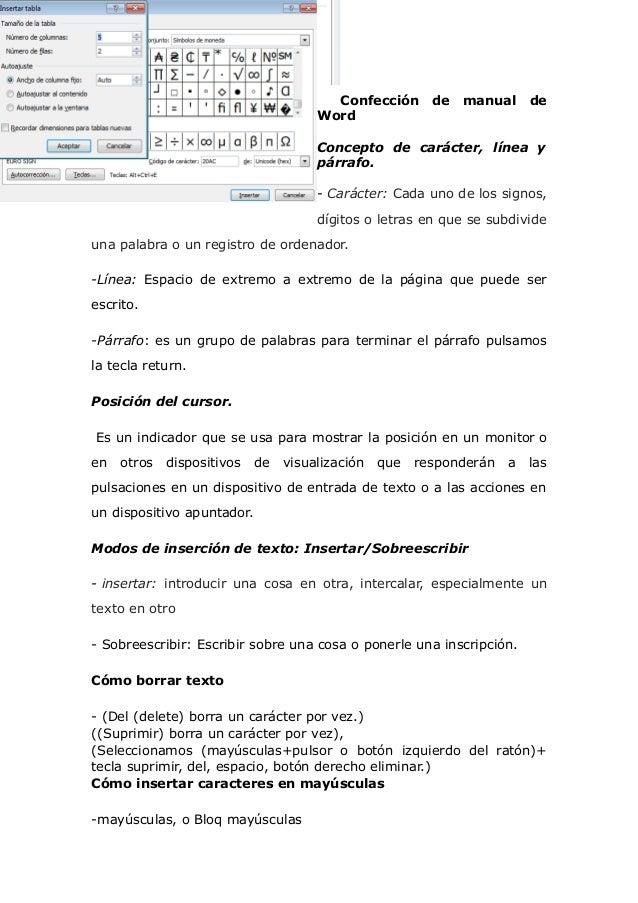 Confección de manual de Word Concepto de carácter, línea y párrafo. - Carácter: Cada uno de los signos, dígitos o letras e...